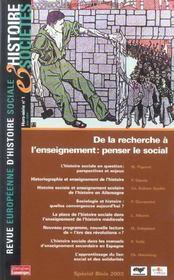 Revue Europeenne D'Histoire Sociale ; De La Recherche A L'Enseignement : Penser Le Social - Intérieur - Format classique