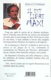 Il Est Libre Max ! - 4ème de couverture - Format classique