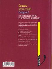L'Epreuve De Mathemathiques Et Tableaux Numeriques, Concours Administratifs Categorie C - 4ème de couverture - Format classique