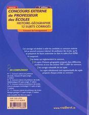 Concours Externe De Professeur Des Ecoles T.10 ; Histoire Geographie ; 12 Sujets Corriges ; 5e Edition - 4ème de couverture - Format classique