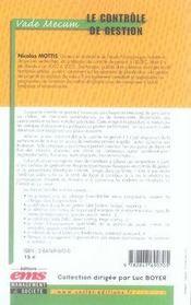 Le contrôle de gestion - 4ème de couverture - Format classique