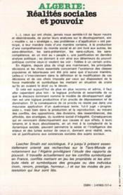 Algerie Realites Sociales Et Pouvoir - 4ème de couverture - Format classique
