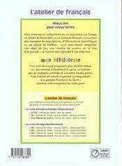 Français ; cycle 2 ; manuel de l'élève - 4ème de couverture - Format classique