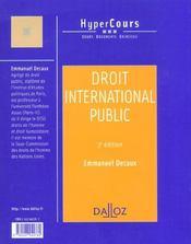Droit International Public ; 3e Edition - 4ème de couverture - Format classique