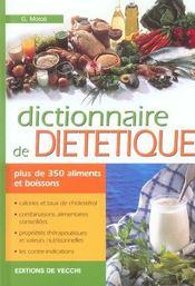 Dictionnaire De Dietetique - Intérieur - Format classique