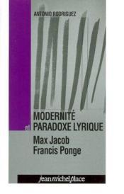 Modernité et paradoxe lyrique - Couverture - Format classique
