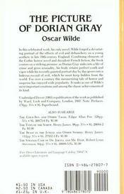 Picture of Dorian Gray - 4ème de couverture - Format classique