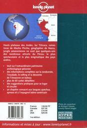 Perou ; 1e Edition - 4ème de couverture - Format classique