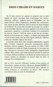 Driss Chraibi En Marges - 4ème de couverture - Format classique