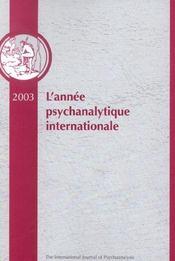 Annee Psychanalytique Internationale 2003 (édition 2003) - Intérieur - Format classique