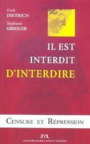 Censure Et Repression ; Il Est Interdit D'Interdire - Intérieur - Format classique