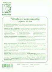 Formation et communication la preuve par neuf - 4ème de couverture - Format classique