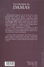Chemins de damas - 4ème de couverture - Format classique