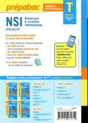 Prépabac cours & entraînement ; NSI, numérique & sciences informatiques, spécialité ; terminale générale (édition 2020/2021) - 4ème de couverture - Format classique