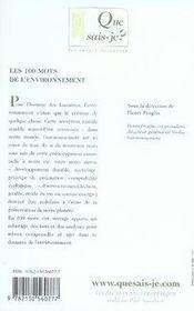 Les 100 mots de l'environnement - 4ème de couverture - Format classique