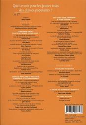 Revue Empan N.67 ; Quel Avenir Pour Les Jeunes Issus Des Classes Populaires? - 4ème de couverture - Format classique