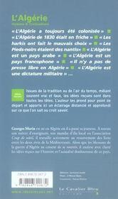 L'Algérie - 4ème de couverture - Format classique