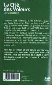 Défis fantastiques t.5 ; la cité des voleurs - 4ème de couverture - Format classique