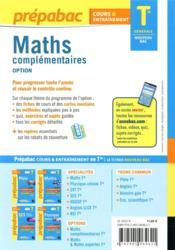 Prépabac cours & entraînement ; maths complémentaires, option ; terminale générale (édition 2020/2021) - 4ème de couverture - Format classique