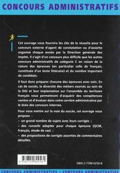 Agent De Constatation Ou D'Assiette Des Impots Categorie C - 4ème de couverture - Format classique
