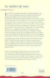 Le Metier De Tuer - 4ème de couverture - Format classique