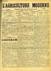 L'AGRICULTURE MODERNE N° 300 - J. Gadret : La récolte du blé en 1901. - Couverture - Format classique