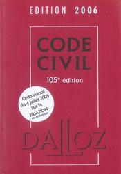 Code Civil 2006, Edition 105 - Intérieur - Format classique