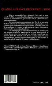 Quand La France Decouvrit L'Inde - 4ème de couverture - Format classique