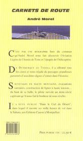 Carnets de route - 4ème de couverture - Format classique