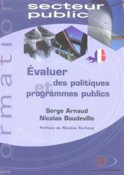 Evaluer des politiques et programmes publics - Intérieur - Format classique