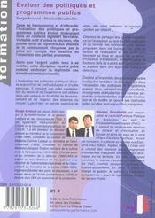 Evaluer des politiques et programmes publics - 4ème de couverture - Format classique
