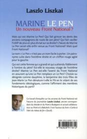 Marine le Pen ; un nouveau Front national ? - 4ème de couverture - Format classique