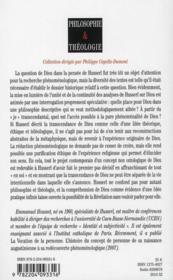 Husserl et l'idée de dieu - 4ème de couverture - Format classique