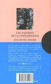 Les theories de la connaissance - 4ème de couverture - Format classique
