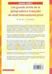 Les Grands Arrets De La Jurisprudence Francaise De Droit International Prive ; 4e Edition - 4ème de couverture - Format classique