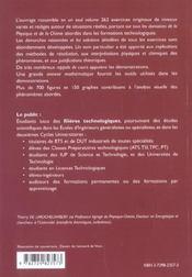 Sciences Physiques Pour Technologues Exercices Avec Solutions Detaillees Ats Tsi Tpc Pt Iut Iup - 4ème de couverture - Format classique