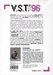 Vst 096 - pratiques du corps - 4ème de couverture - Format classique