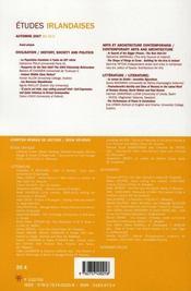 Revue Etudes Irlandaises N.32 ; Les Nouveaux Irlandais / The New Irish - 4ème de couverture - Format classique