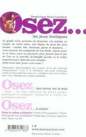OSEZ ; les jeux érotiques - 4ème de couverture - Format classique