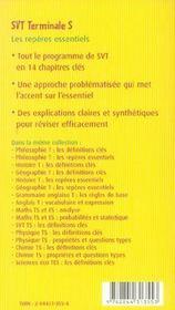 SVT ; les repères essentiels ; Terminale S - 4ème de couverture - Format classique