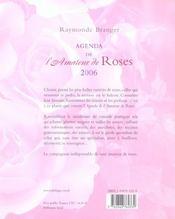 Agenda 2006 de l'amateur de roses - 4ème de couverture - Format classique