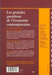 Grandes Questions Economiques Contemporaines 99 - 4ème de couverture - Format classique