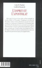 L'esprit et l'apostolat - 4ème de couverture - Format classique