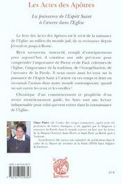 Les Actes Des Apotres - 4ème de couverture - Format classique