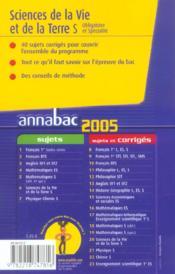 ANNABAC SUJETS & CORRIGES (édition 2005) - 4ème de couverture - Format classique