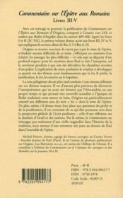 Commentaire de l'épître aux Romains t.2 ; livres III-IV - 4ème de couverture - Format classique