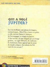 Les enfants du Nil T.5 ; qui a volé Jupiter ? - 4ème de couverture - Format classique