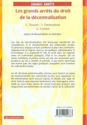 Les grands arrets du droit de la decentralisation - 2e ed. - 4ème de couverture - Format classique