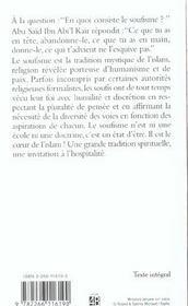 Le Face-A-Face Des Coeurs ; Le Soufisme Aujourd'Hui - 4ème de couverture - Format classique