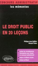 Le Droit Public En 20 Lecons Les Mementos Concours Administratifs Connaissances Lexique Juridique - Intérieur - Format classique
